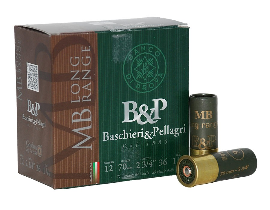 Cartuchos de caza Baschieri & Pellagri MB Long Range - Calibre 12 - 36 gr