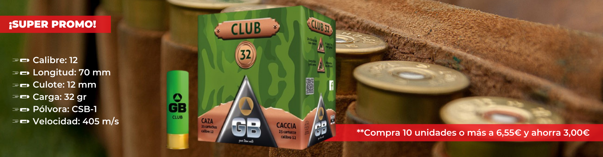 Cartuchos de caza GB Club One